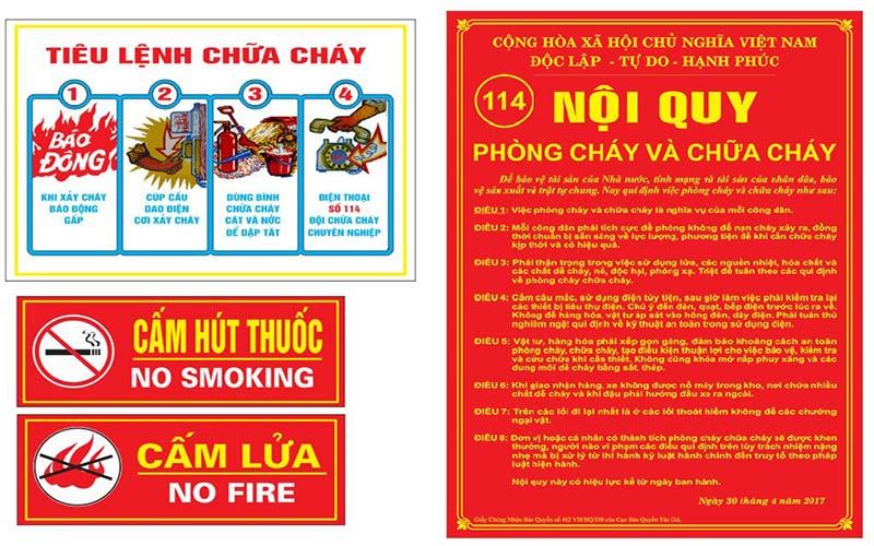 Bảng nội quy phòng cháy chữa cháy